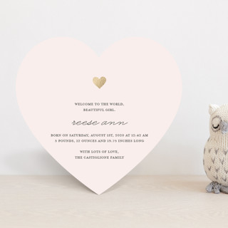 Gold Heart Foil-Pressed Birth Announcements