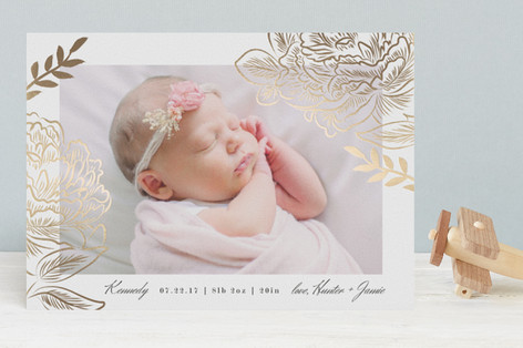 Floral Love Foil-Pressed Birth Announcements