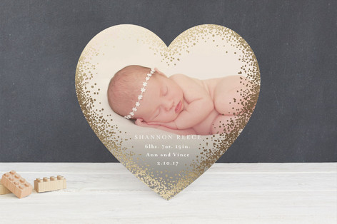 Gilded Heart Foil-Pressed Birth Announcements