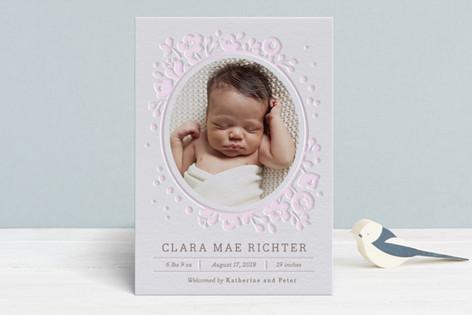 Baby Bouquet Letterpress Birth Announcements