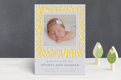 Frame Letterpress Birth Announcements