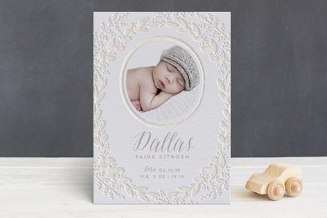 Gilded Garden Letterpress Birth Announcements