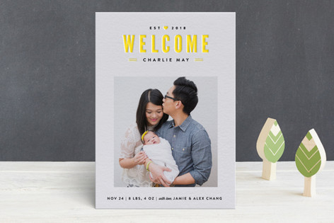 Welcome Home Letterpress Birth Announcements