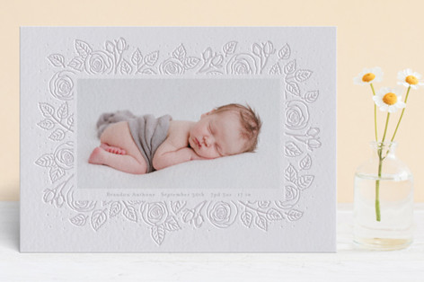 Bed of roses Letterpress Birth Announcements