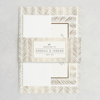 elegant herringbone Foil-Pressed Belly Bands