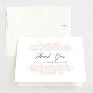 Floral Wrap Letterpress Birth Announcements Thank You Cards