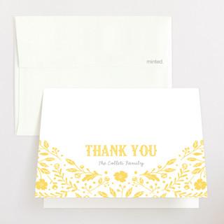 Floral Announcement Letterpress Birth Announcements Thank You Cards