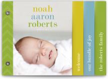 Classy Noah Birth Announcement Minibook™ Cards