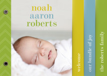 Classy Noah Birth Announcement Minibook™ Cards