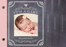 It's A Girl Vintage Chalkboard Birth Announcement Minibook™ Cards