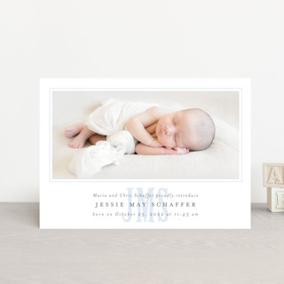 Classic Monogram Birth Announcement Petite Cards