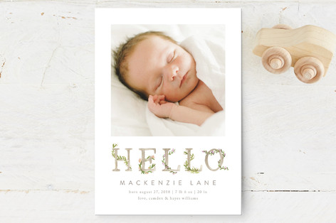 Morning Garden Birth Announcement Petite Cards