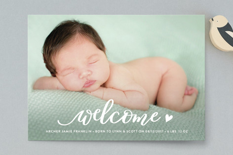 Welcoming heart Birth Announcement Petite Cards