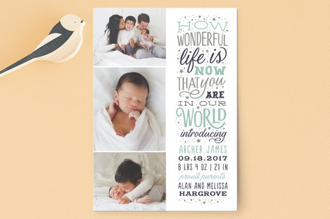 Wonderful Life Birth Announcement Petite Cards