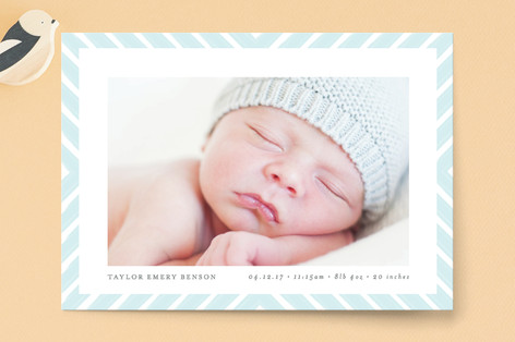 Brushed Chevron Birth Announcement Petite Cards
