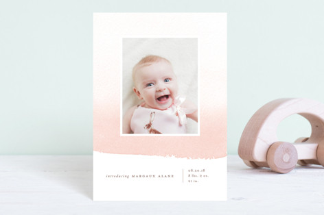 Delicate Ombre Birth Announcement Petite Cards