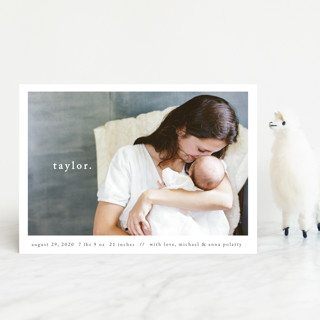 Simple Type Birth Announcement Petite Cards