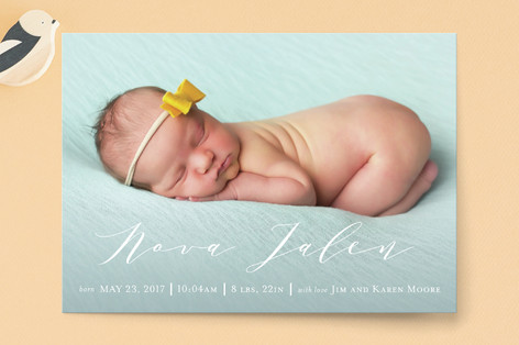 Boldly Scripted Birth Announcement Petite Cards