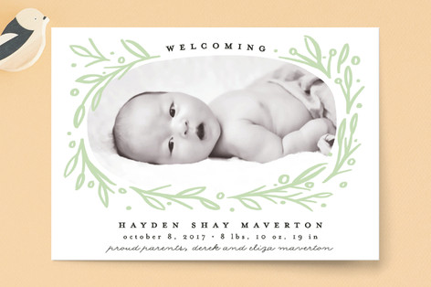 Botanics Birth Announcement Petite Cards