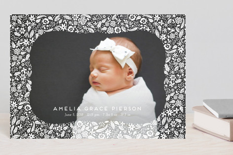 floral curved frame Birth Announcement Petite Cards