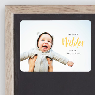 Simple Hello Birth Announcement Magnets