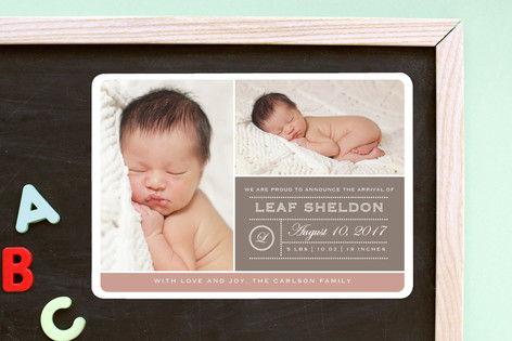 From Your Nose to Your Toes Birth Announcement Magnets