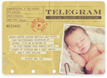 Telegram Birth Announcement Magnets