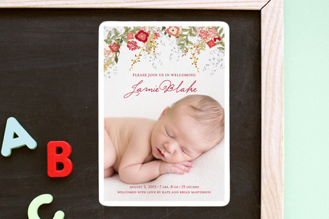 Fleurs De Noel Birth Announcement Magnets