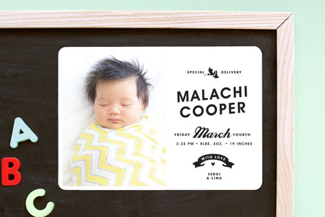 Vintage Label Birth Announcement Magnets