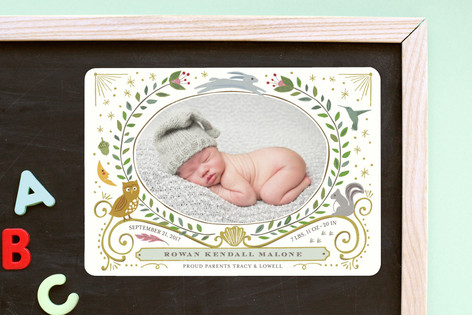 Woodland Awakening Owl Birth Announcement Magnets