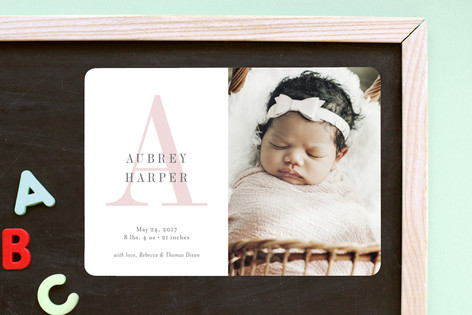 Soft Initial Birth Announcement Magnets