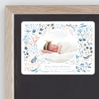 Bunny and Birds Birth Announcement Magnets