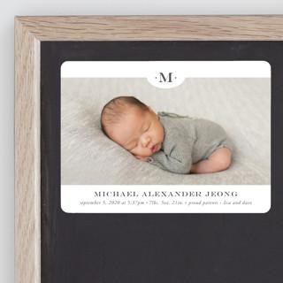 Classic Monogram Birth Announcement Magnets