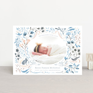 Bunny and Birds Birth Announcement Postcards