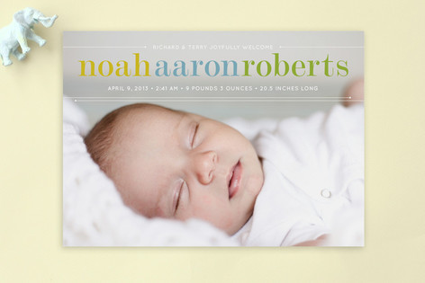 Classy Noah Birth Announcement Postcards