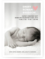 Simple Hearts Birth Announcement Postcards