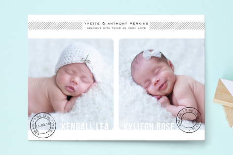 Double Stamped Birth Announcement Postcards
