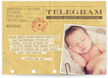 Telegram Birth Announcement Postcards