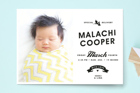 Vintage Label Birth Announcement Postcards