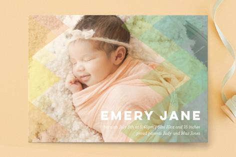 mod rainbow Birth Announcement Postcards