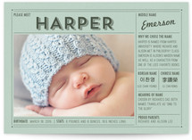 Vintage Name Grid Birth Announcement Postcards