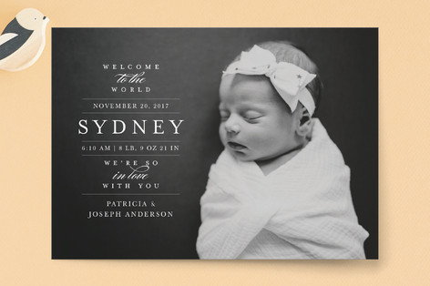 In Love Birth Announcement Postcards