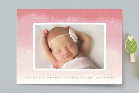Dip Dye Birth Announcement Postcards