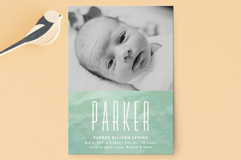 washed watercolor Birth Announcement Postcards