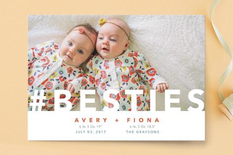 Hashtag Besties Birth Announcement Postcards