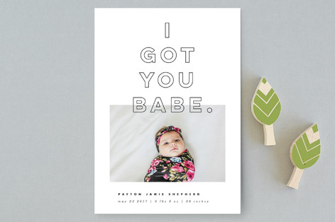I Got You Babe Birth Announcement Postcards