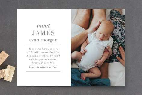 Editorial Keepsake Birth Announcement Postcards