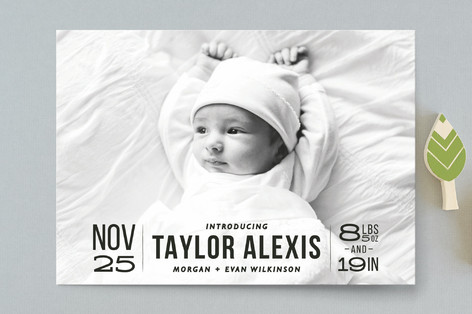 Bold Beginnings Birth Announcement Postcards