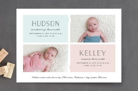 Twinning Birth Announcement Postcards