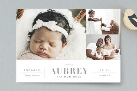 Chic Grid Birth Announcement Postcards